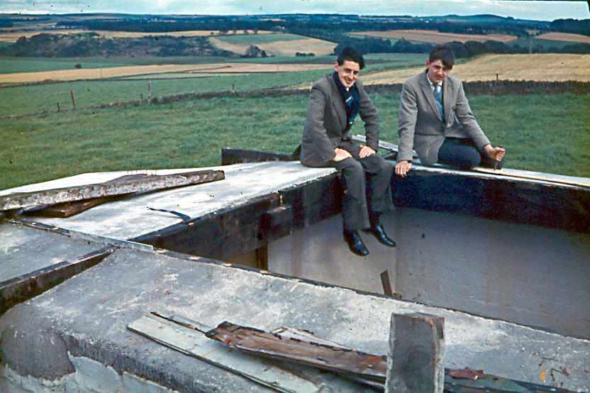 Dave and Murray Webster at Powrie observatory, a purpose built WW2 pill box.