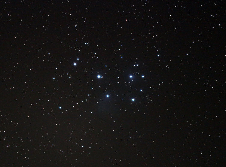 "M45 The Pleiades  By Ken Kennedy. 24/02/2016.  Skipping quickly past the description that the cold had on his anatomy... Camera Canon EOS 100d, 55-250 tele lens at maximum for 120 seconds at ISO 800 on the Star Aventurer camera guidance system.  ""You can even see some nebulosity,"" says Jim, our Director of Observations. ""even with such short exposure time!"""