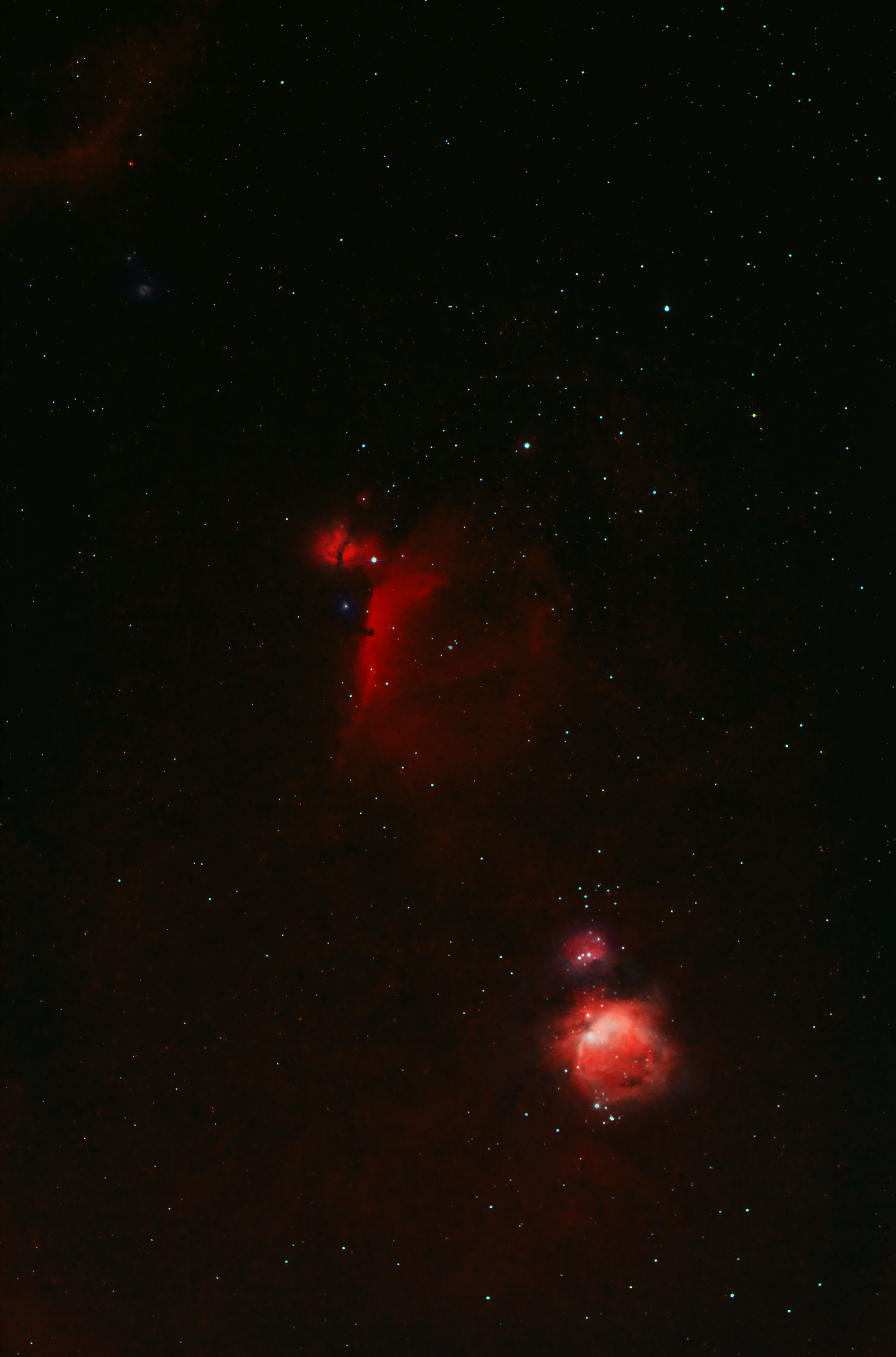 "The Belt of Orion   by Alan Clitherow. 29th January 2017.  20.50pm.  The image was taken with a Canon 600D and a 135 mm lens, lots of subframes at 1 minute and 4 minutes and a lot of processing in Photoshop.  ""Was out on the evening of the 29th taking some wide-field views of M42 and the belt of Orion. One of my daughters wanted a picture of the three stars making up the belt as these were the first stars she learned to recognize for herself. The image was taken with a Canon 600D and a 135 mm lens, lots of subframes at 1 minute and 4 minutes and a lot of processing but it came out about how I wanted. Hope its of interest."""