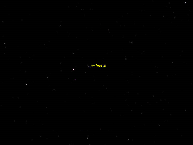 Asteroid Vesta.  By: Ken Kennedy.  Date: 19/02/10.  Telescope: 150mm tele lens mounted on guided Celestron C8. Camera:  Olympus E-410 DSLR  Exposure: 200 ISO,  50 seconds exposure