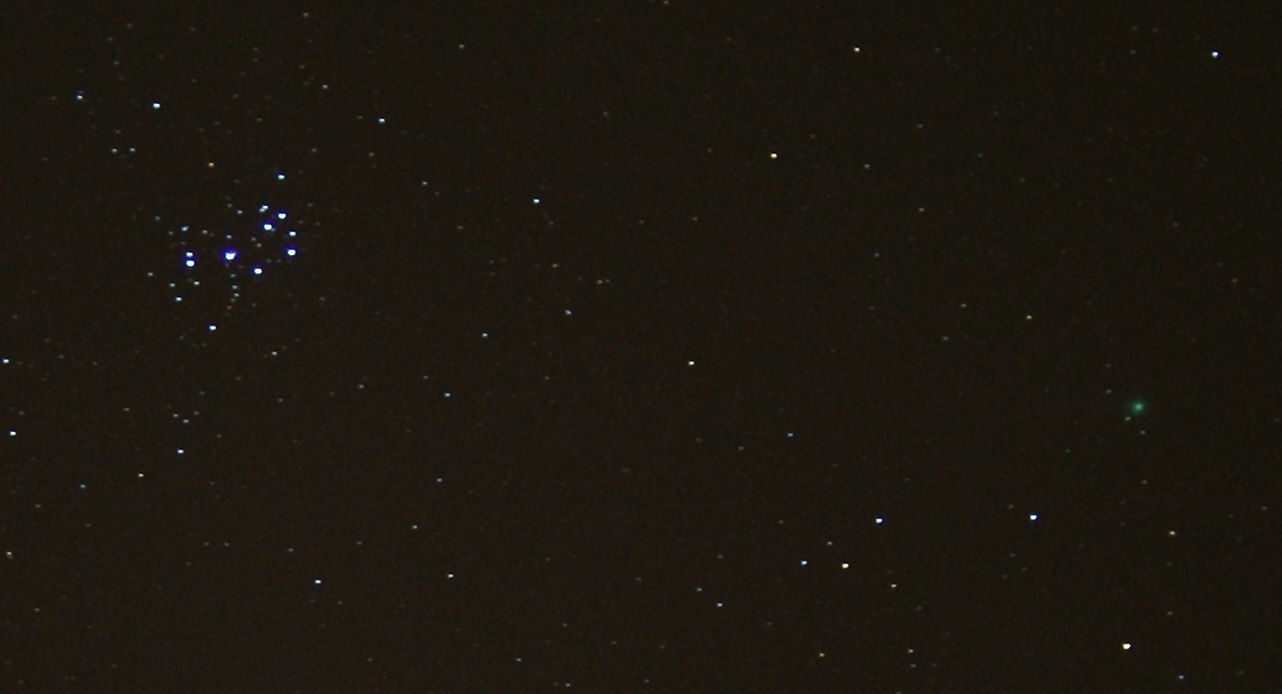 Comet Lovejoy and the Pleiades. By Bill Samson 18.01.2015