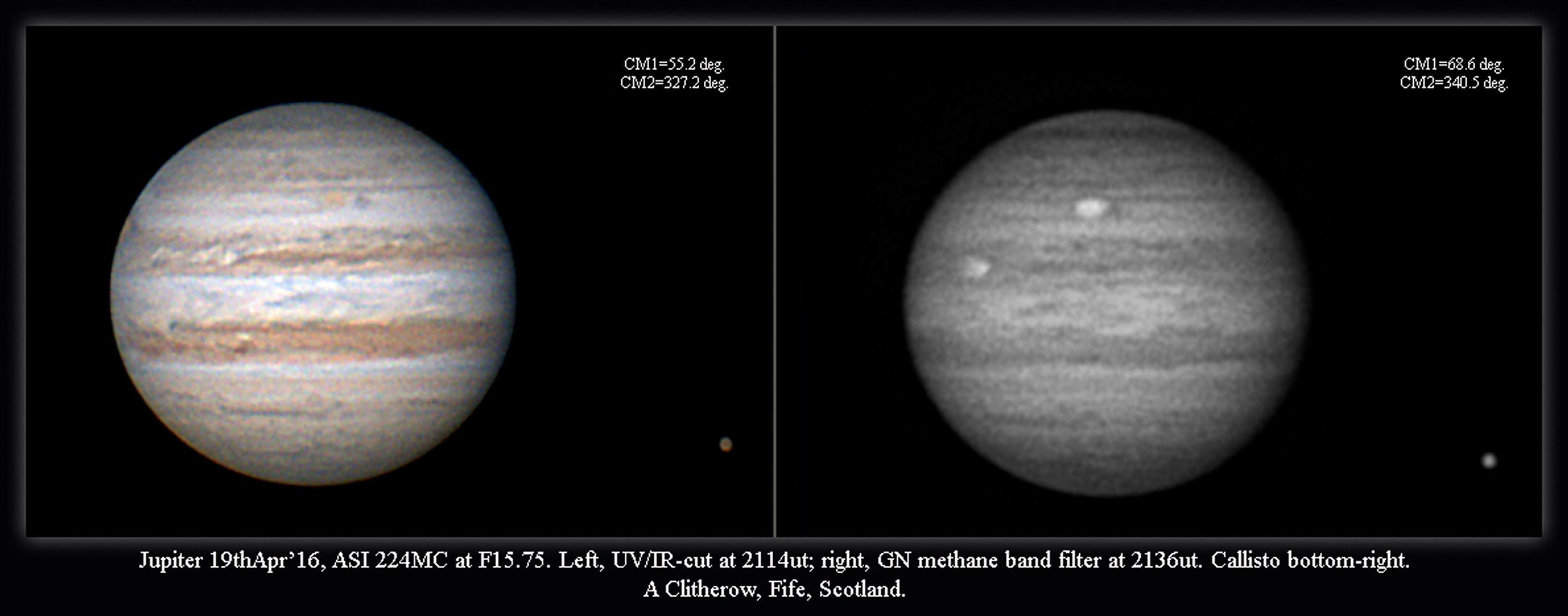 Jupiter 19th April 2016 by Alan Clitherow.  The images from the 19th are south-up and shows Oval BA nearing the central meridian with an interesting diamond-shaped  dark patch following it. I also include a methane-band image of Jupiter taken a little time after the colour one. This shows methane where the light of the Sun  is absorbed within the cloud belts so the darker the patch, the more the methane contents.of the GRS.