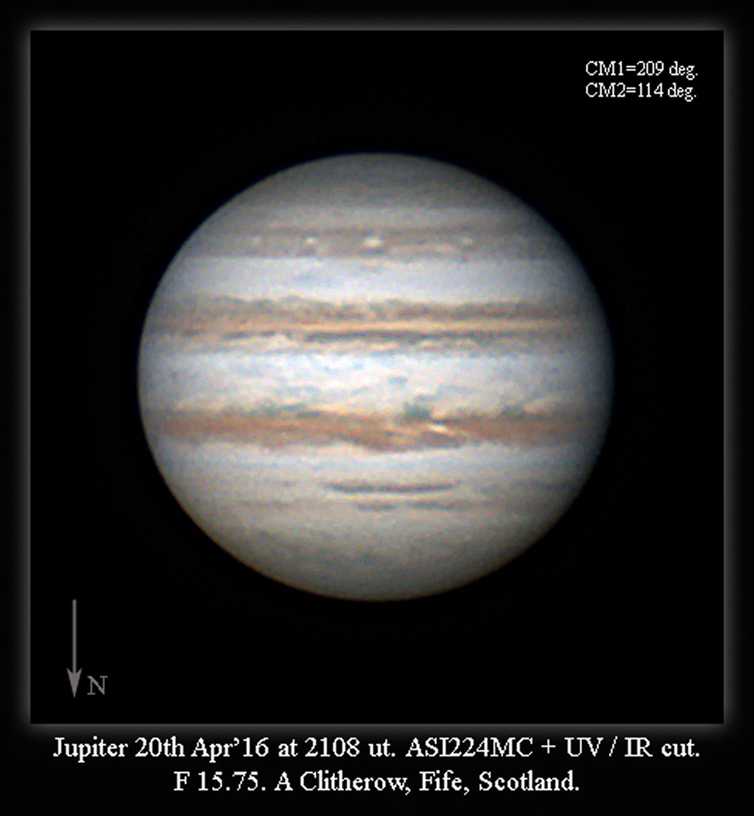 Jupiter 20th April 2016 by Alan Clitherow.  This image from the 20th was very satisfactory. If only we had atmospheric steadiness like this all the time!