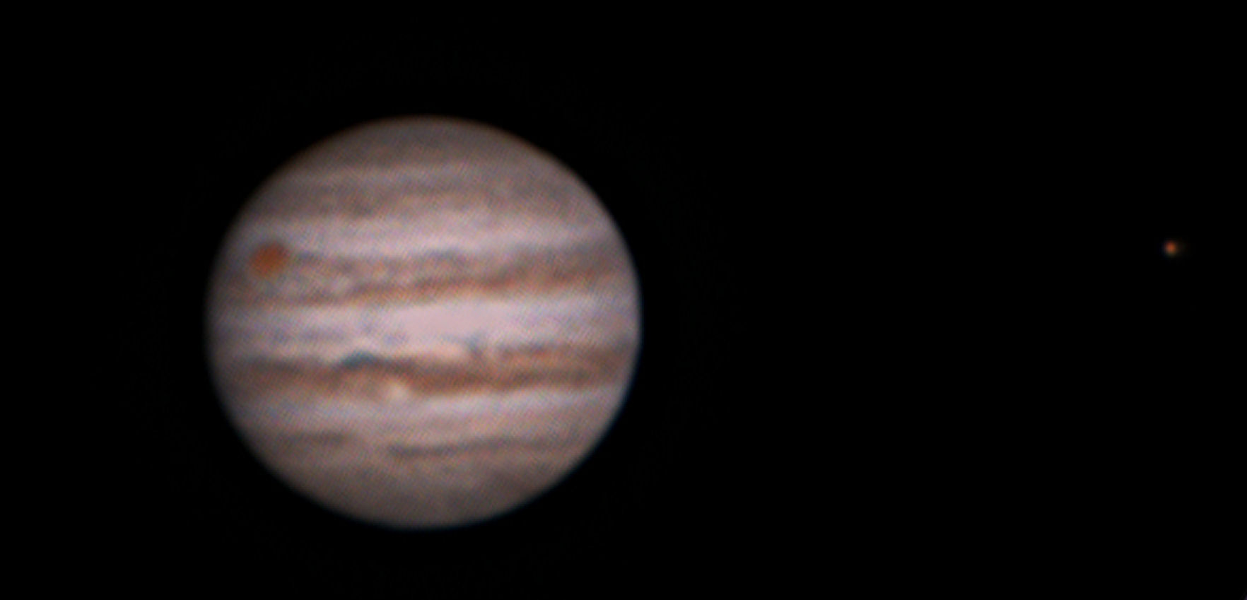 Jupiter By Alan Clitherow. 23rd January 2016 at around 0330am. This picture shows Jupiter presented South-up with The Great Red Spot, and the widening North Equatorial Belt with the White Spot Zulu clearly visible.