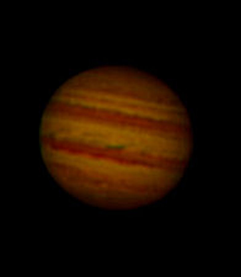 "Jupiter by Phil Rourke. Taken on 11.03.15 at 2332 local time.  The North Polar Region, North Temperate Belt. North Equatorial Belt, Equatorial Zone, South Equatorial Belt and South Polar Region are clearly seen on this image. Camera is Philips Toucam Pro (an old camera) designed as a web camera but gives good results for planetary and lunar work, fitted to an 8"" f/5 relector with a 4x Barlow making it f/20.  15 frames per second, 1800 frames collected and 400 used in the stacking process.  Registax 6 used for stacking."