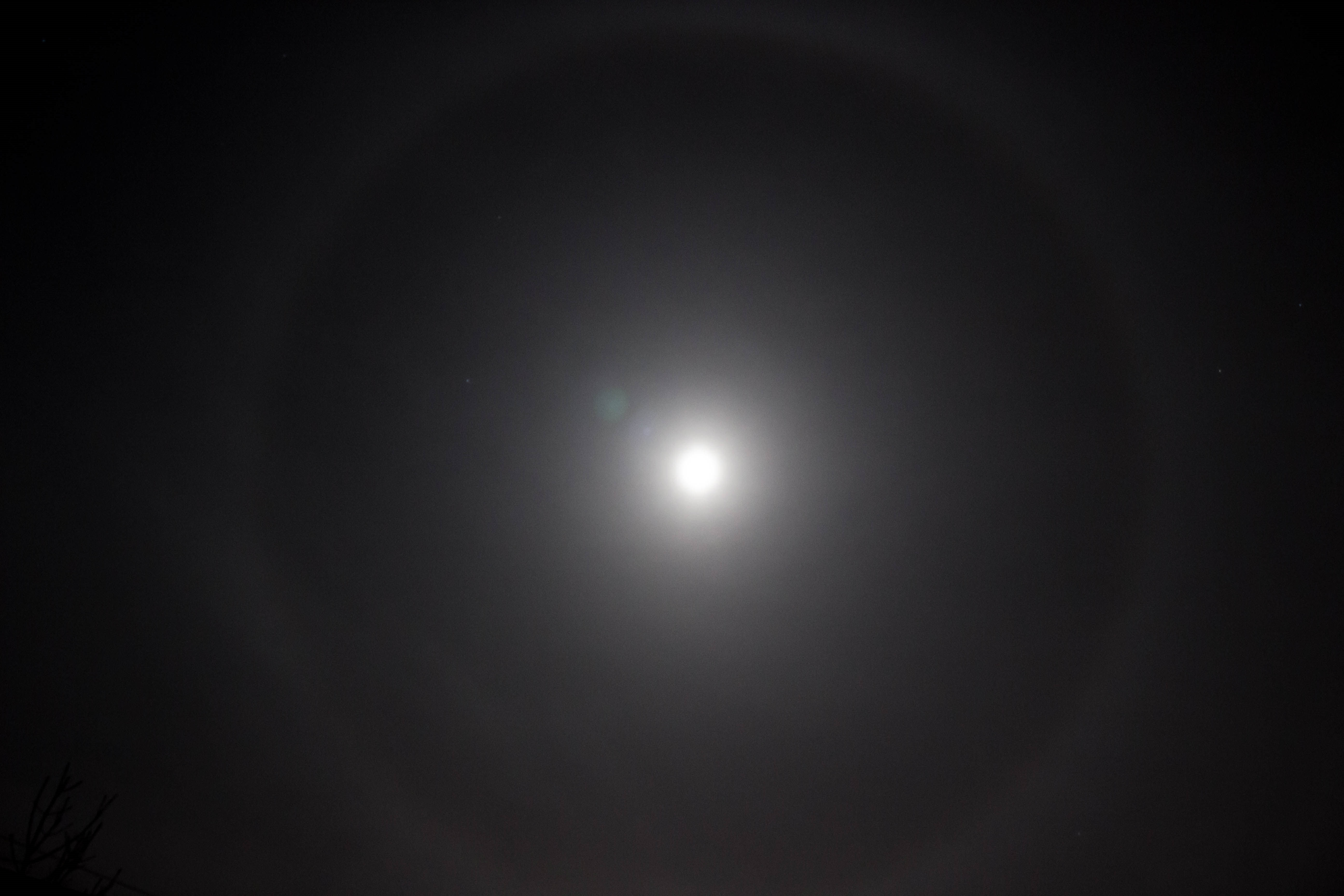 Lunar Halo by Andy Heenan. 10.02.17  00.26. Canon EOS 600d f/5.6 - ISO800 Exposure 2seconds focal length 18mm Adobe Photoshop Lightroom enhanced