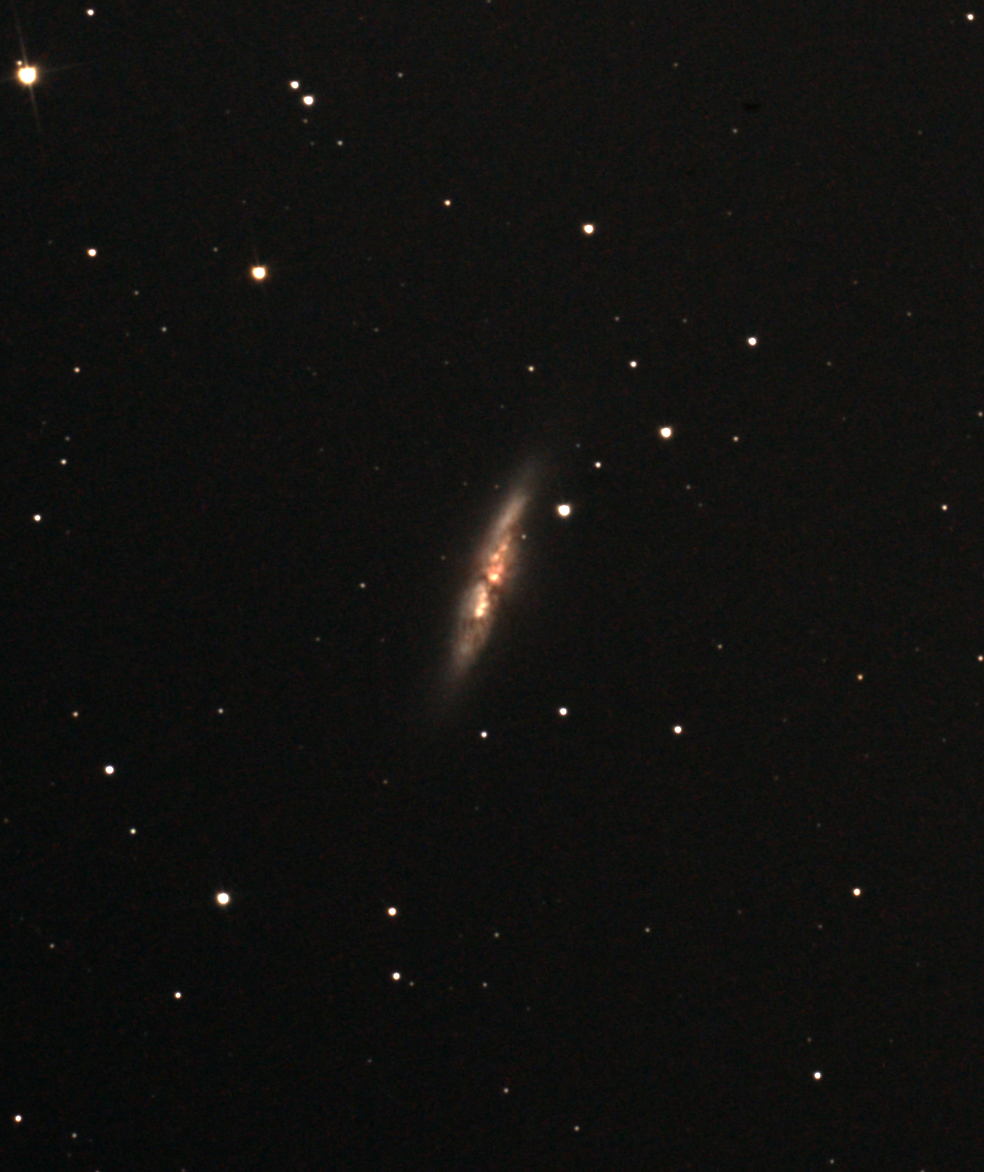 M82 by Ken, enlarged and processed to show some colour and detail in this irregular galaxy.  I have been lucky to get two nights, the 1st and the 4th.