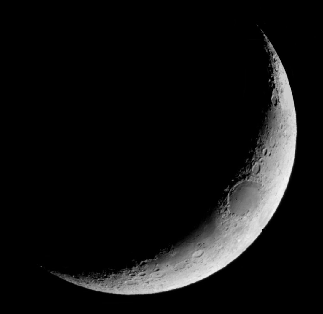 "Moon on Sunday  10th April  20.35pm local time By T Hayes. Canon EOS 1200D 1/200 second - ISO-5400 Through the 110mm hybrid vixen. ""I took some pictures with a 2xBarlow, selected three and with a little magic and help from PSP stitched them together to make this composite""-Tony"