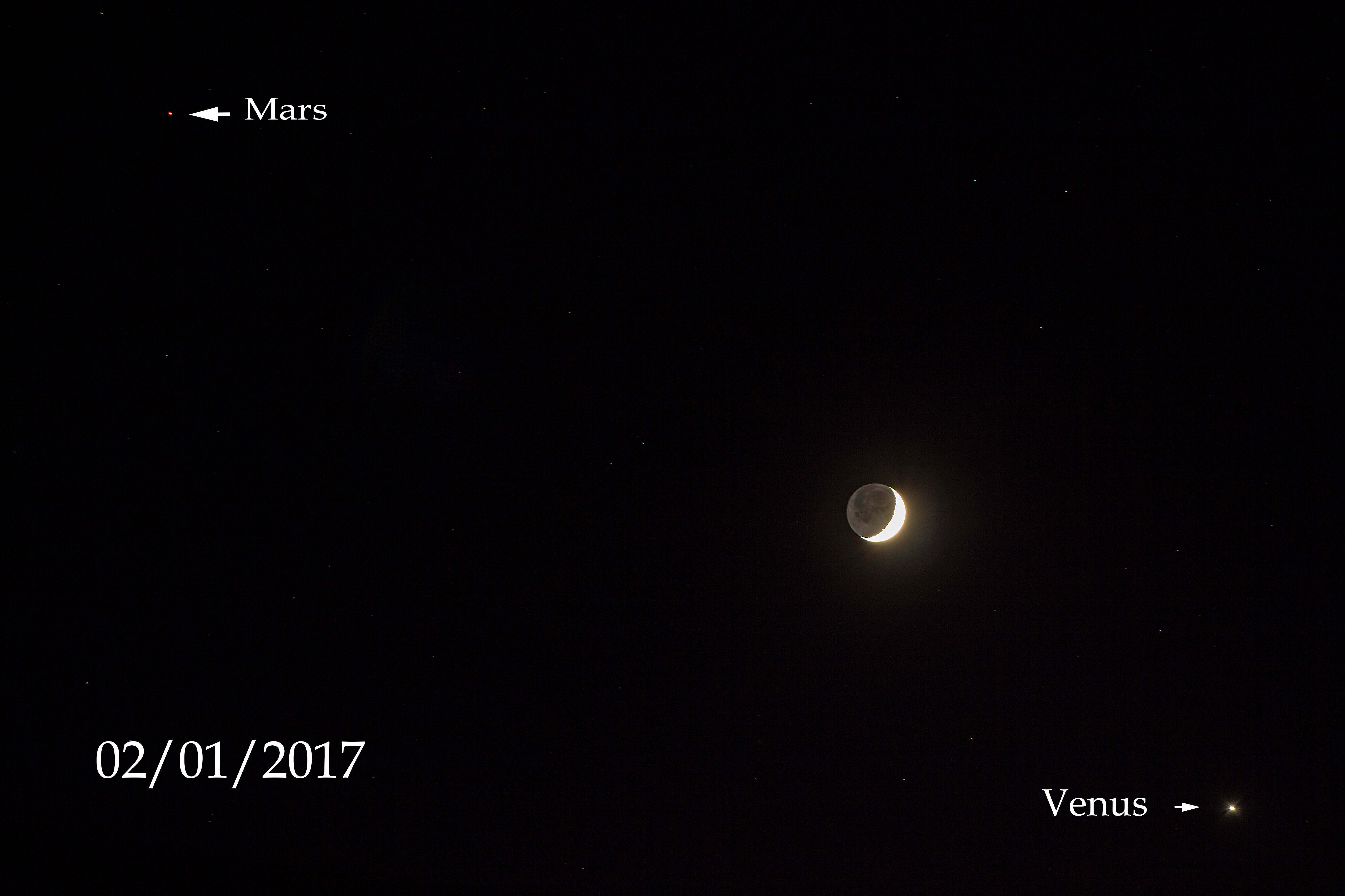 Conjunction of Moon, Venus and Mars by Andy Heenan. 2nd January 2017. Canon EOS 600D f/4.5, 4 seconds at ISO-100