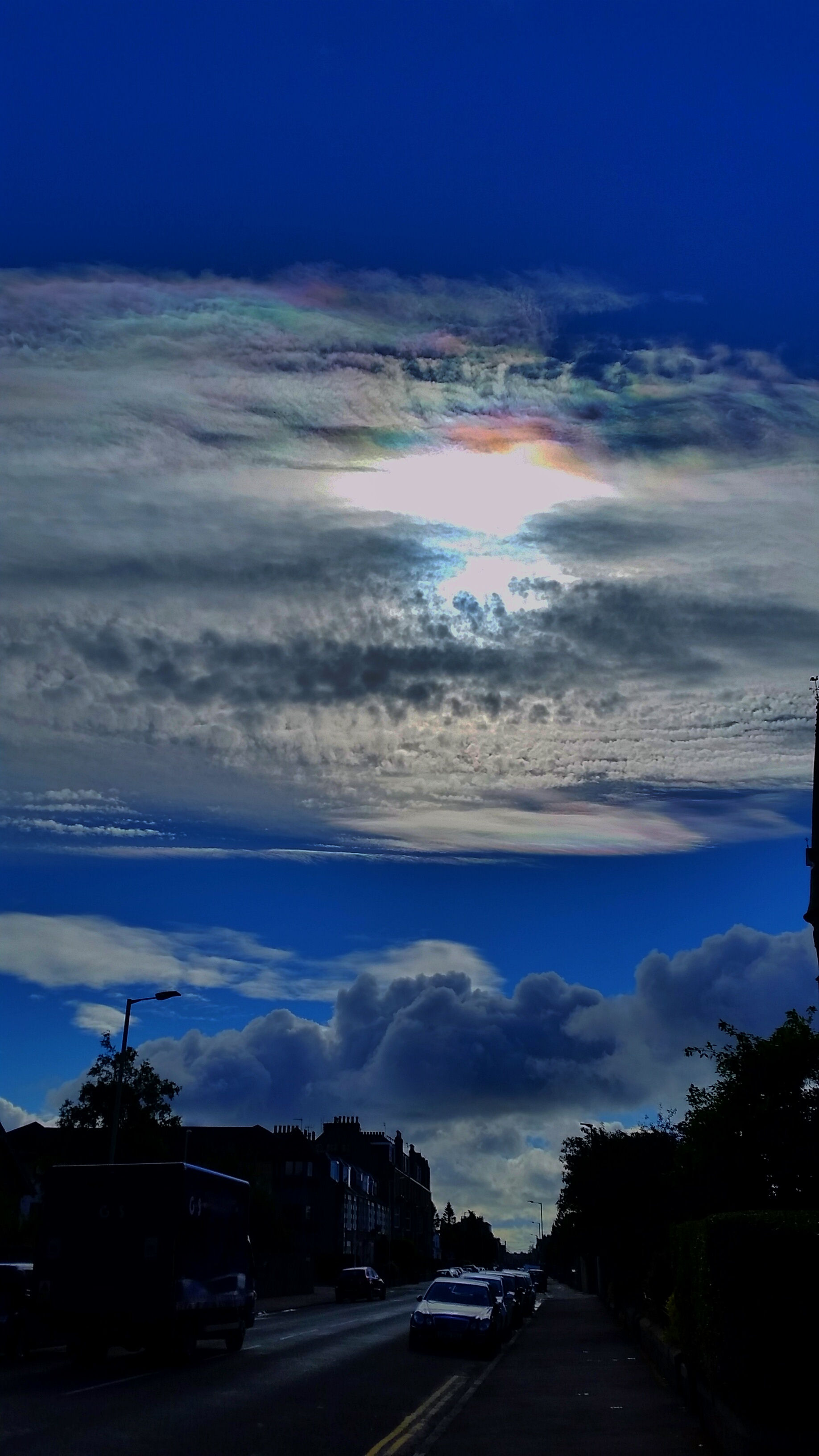 "Pearlescent clouds By Bill Samson. 25th June 2016 at 09.12. Samsung SM-G900F f/2.2,  ISO-40,  5mm focal length, max aperture 2.28.  ""Interesting pearlescent effects in the clouds over Broughty Ferry this morning""-Bill S"