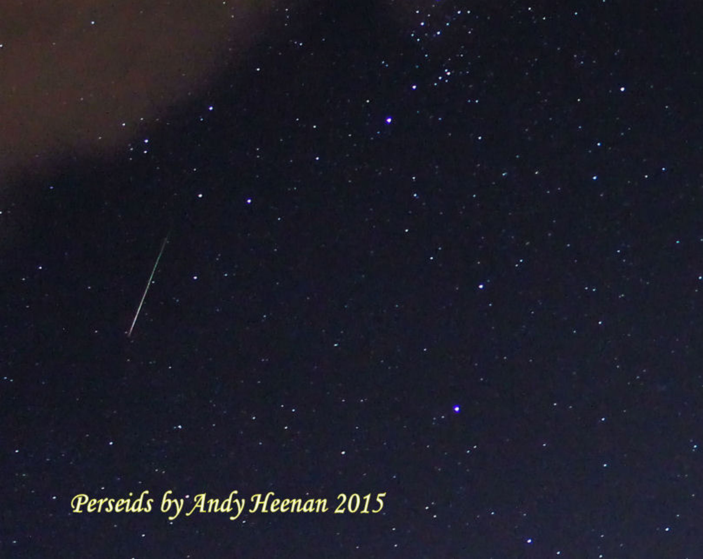 Perseid By Andy Heenanan. 10th August Canon EOS 1100d f/3.5.  ISO 3200 15 second exposure