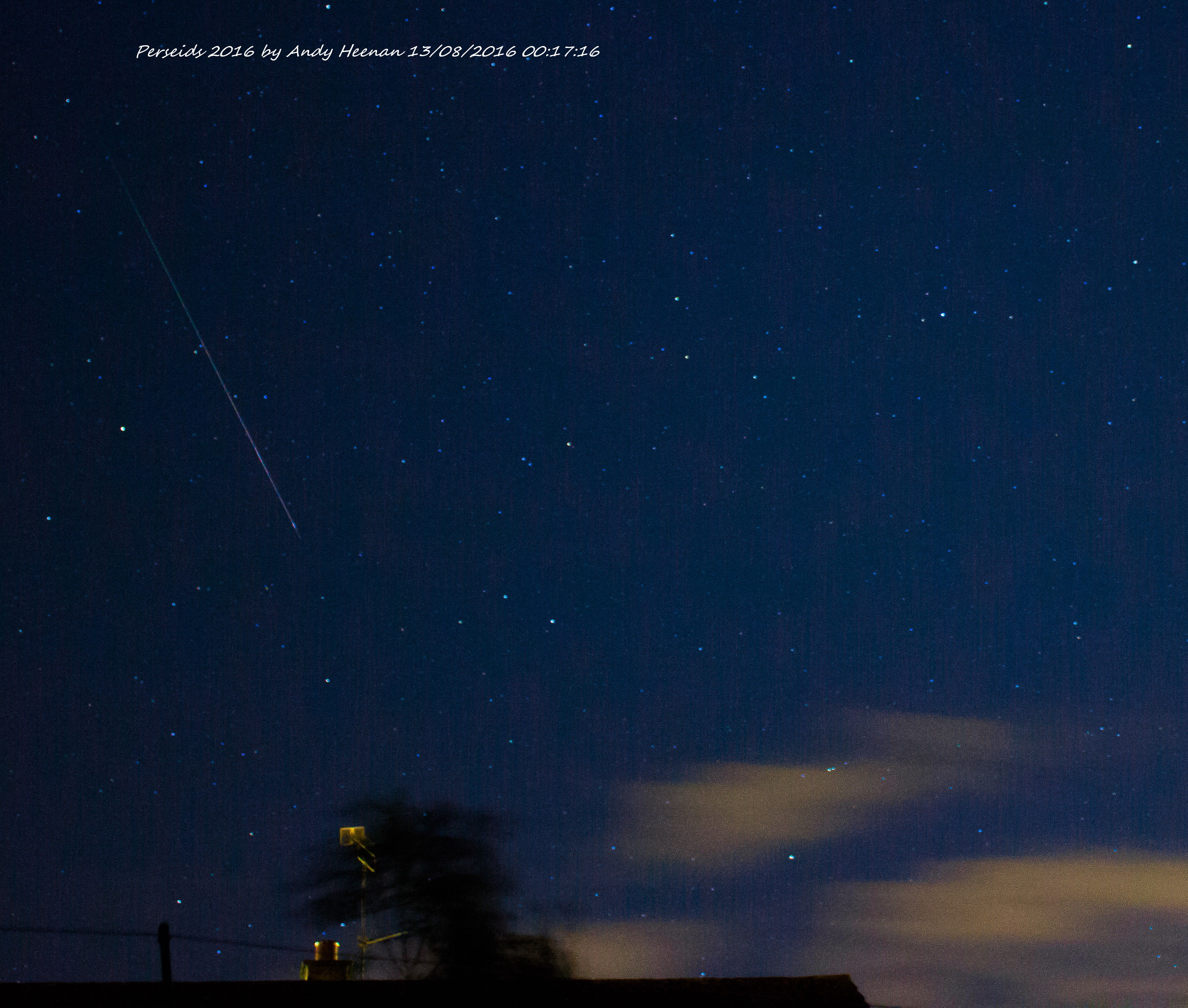 Perseid Meteor by Andy Heenan 13th August 00.17.26am. Canon EOS 600D, f/4:  10 sec exposure