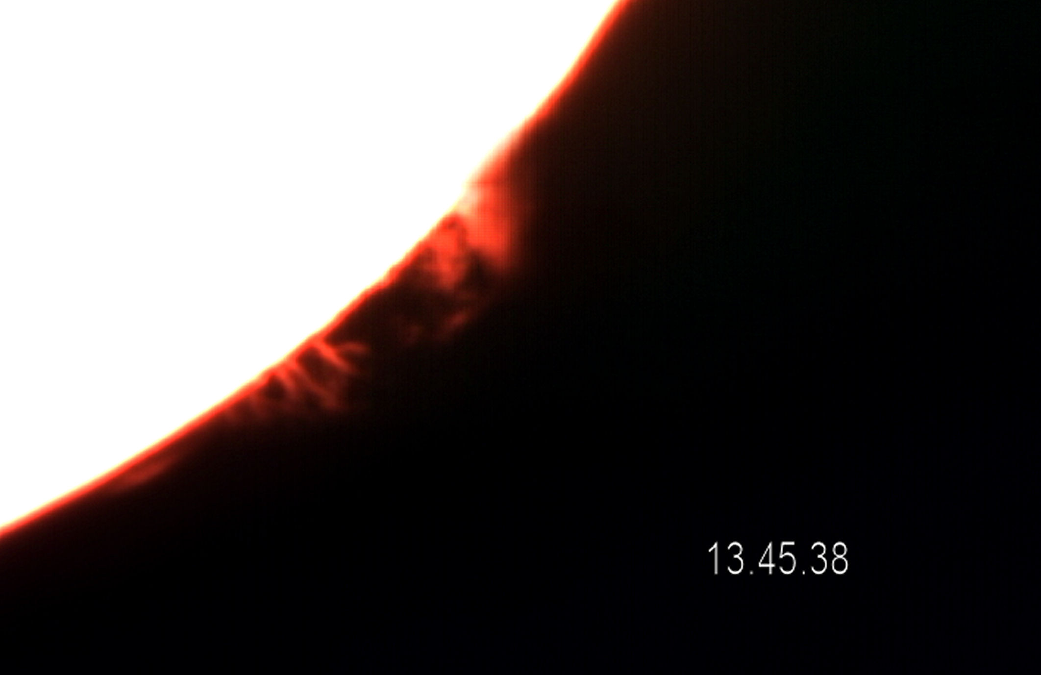 Solar Prominence By T Hayes 7.09.2015. Lunt 35mm H-A telescope with 2xBarlow, Celestron nexstar 5 camera.  10 second movie converted in Virtual Dub and then processed in aviStack