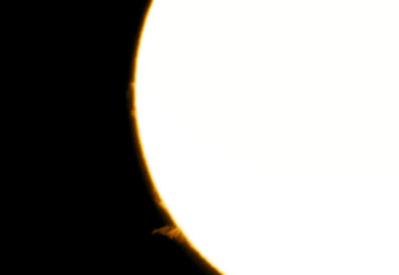 Solar Prominences  By Tony Hayes  2nd April 2016. Camera Sony Cybershot DSC-W800. Hand held at the lunt 35mm solar scope.