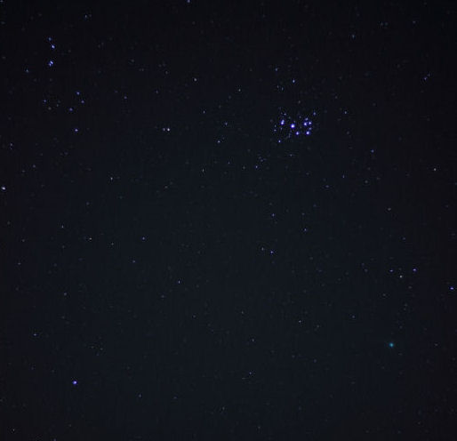 The Pleides and Comet Lovejoy By Andy Heenan 16th January 23.08. Canon EOS 600d. f1.8, ISO-1600 4 second exposure. This picture was cropped to fit the old style gallery.