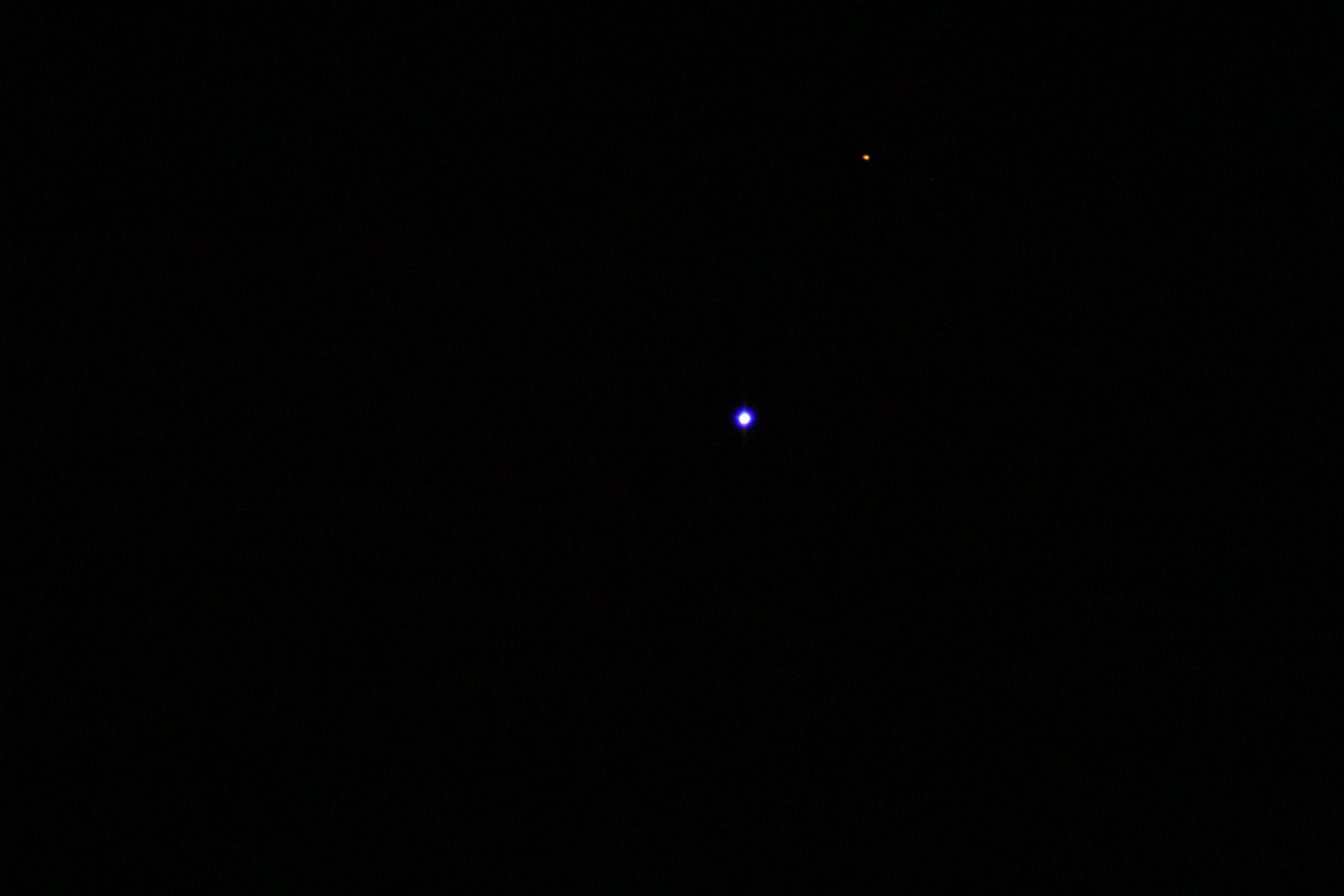 Venus & Mars By T Hayes. 21st February 19.21pm. Telescope-Skywatcher 120mm, short tube f/0.5. Camera- Canon EOS 1200d  ISO-6400 1/125 seconds
