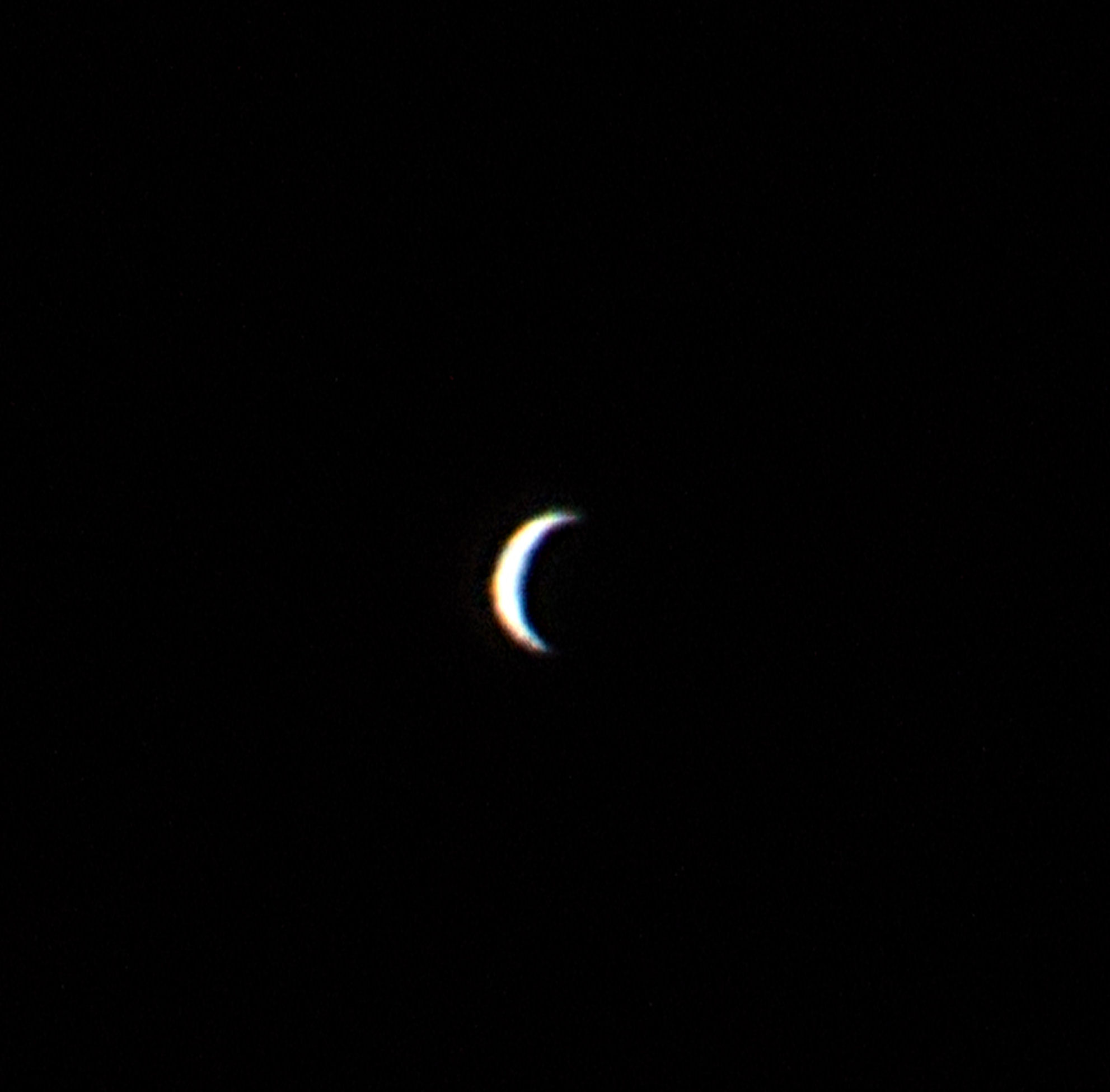 "Venus by Ken Kennedy. 01.03.2017  18.51UT.  Canon EOS 100D.  1/400 sec. ISO-400. ""I managed to get a nice phase of Venus with the 102mm Maksutov""-Ken K"
