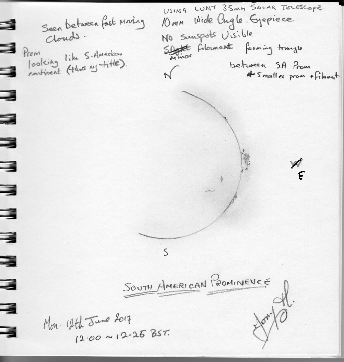 Prominence - Sketch by T Hayes.  I made this sketch on 12th June - the first day of clear enough sun to make using the telescope worthwhile. Clouds were scudding across the sky and I took brief glimpses of Sol with my Lunt 35mm telescope before the clouds finally won and I gave up for the day.