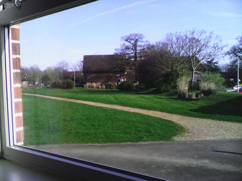 Sparsholt College is set in picturesque Hampshire countryside.  Here is part of the campus seen from our accomodation block.