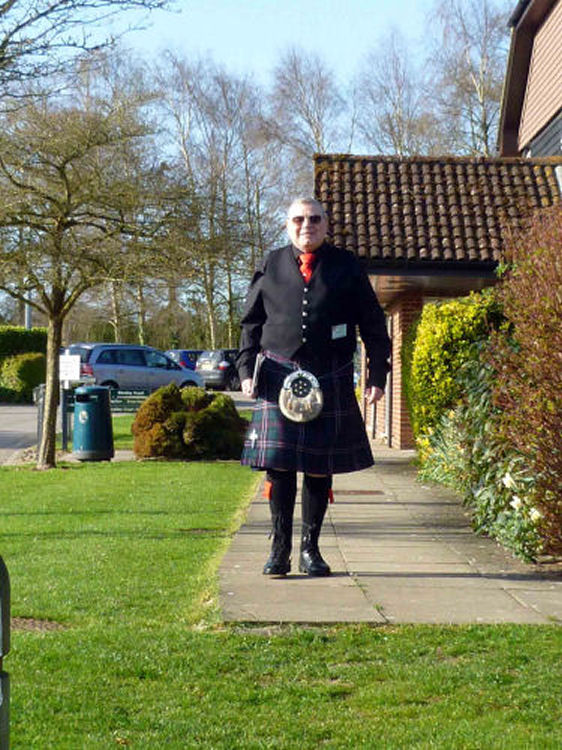 Here Tony wears a kilt to show support for the Scottish contingency